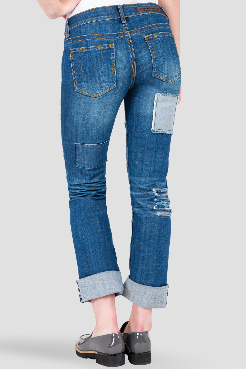 X-Boyfriend Destroyed Patched Low Rise Jeans