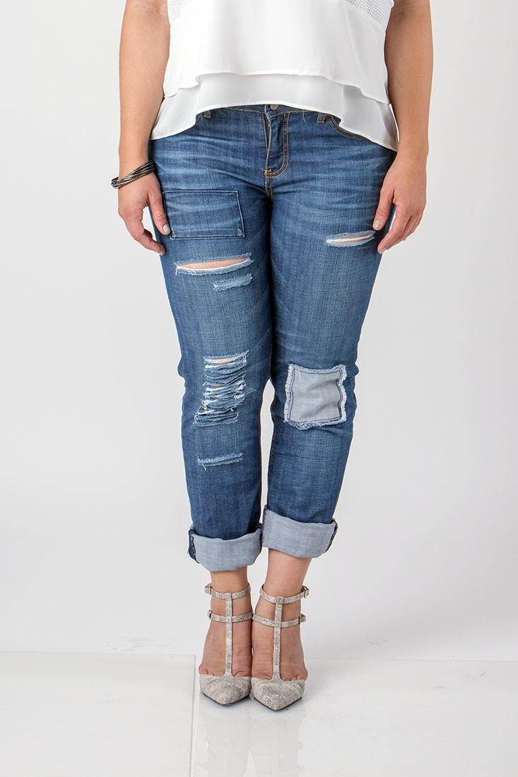 Women Plus Size Destroyed Blue Jeans