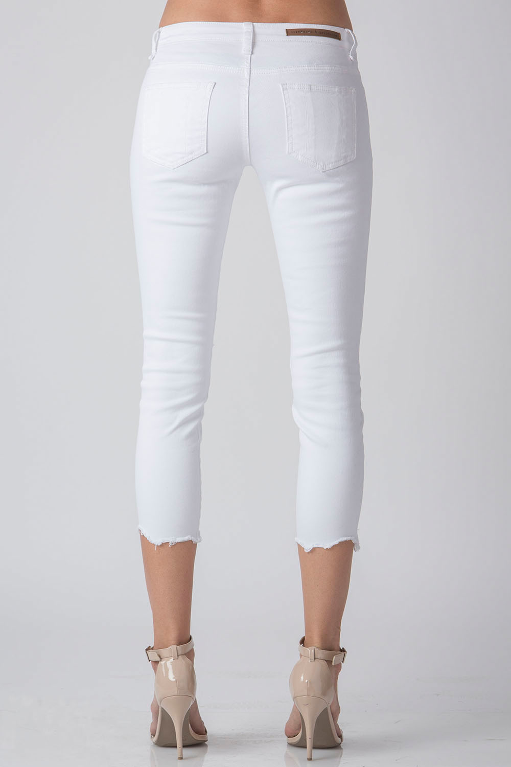 Women White Destroyed Cropped Jeans