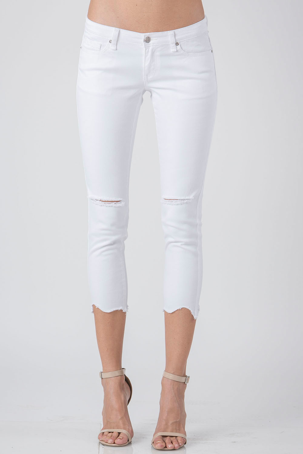 Women White Hem Cropped Skinny Jeans