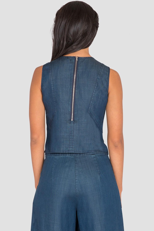 Standards & Practices Women's Sleeveless Denim Cropped Shirt