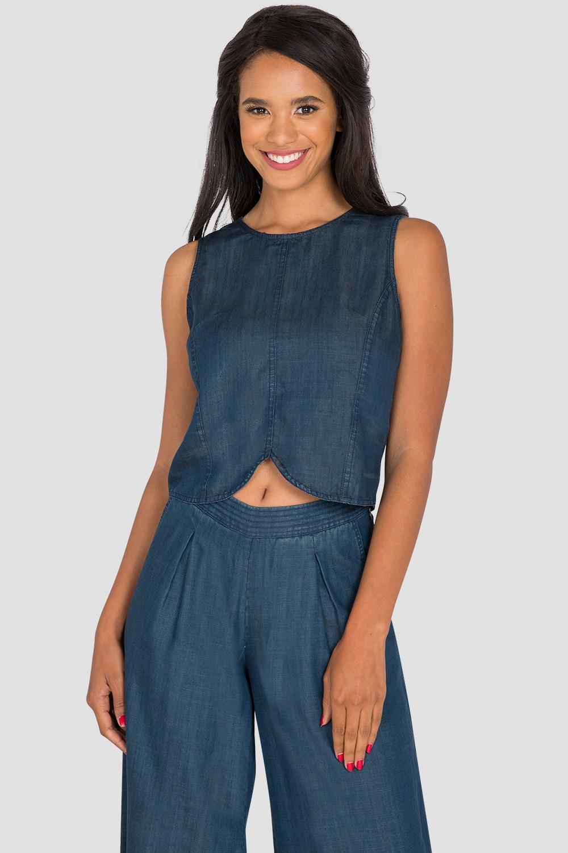 Women's Sleeveless Blue Jean Skimmer Shirt