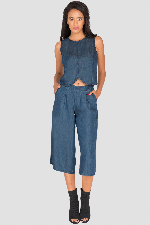 Sleeveless Blue Jean Skimmer Shirt