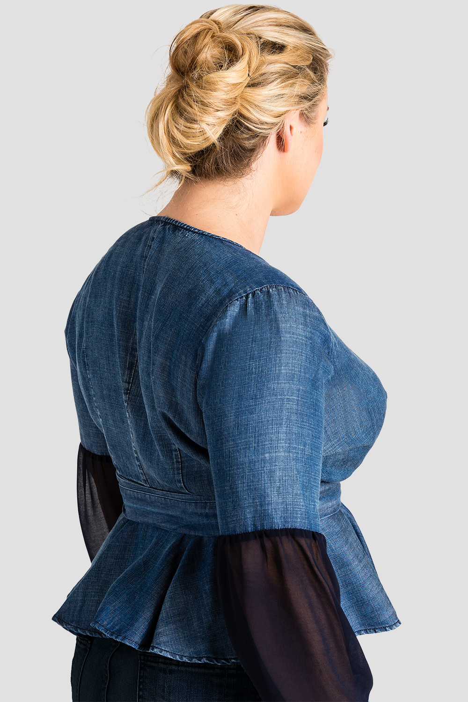 Standards & Practices Plus Size Women's Tencel Denim Puff Sleeve Wrap Top - Letty