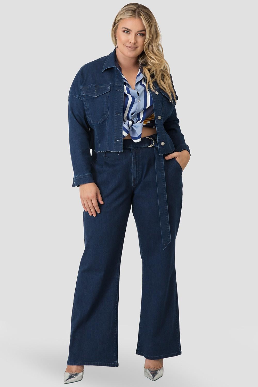 Standards & Practices Women's Drop Shoulder Cropped Indigo Denim Jacket