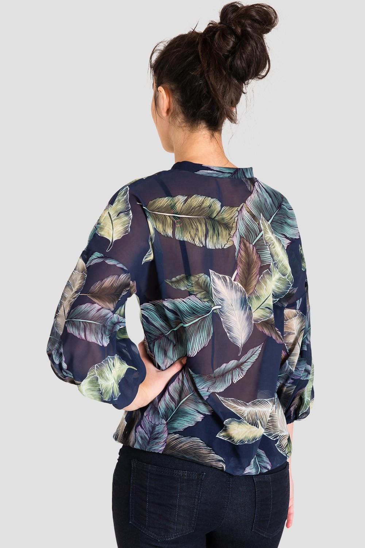 Women's Sheer Tropical Leaf Print Blouse