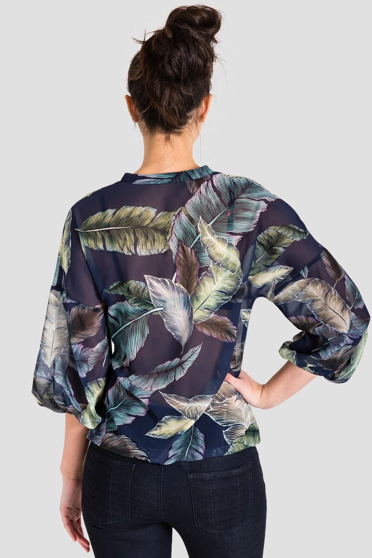 Women's Chiffon Tropical Leaf Print Blouse
