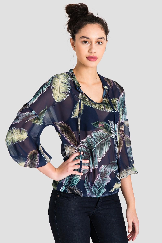 Women's Chiffon Tropical Leaf Print Top