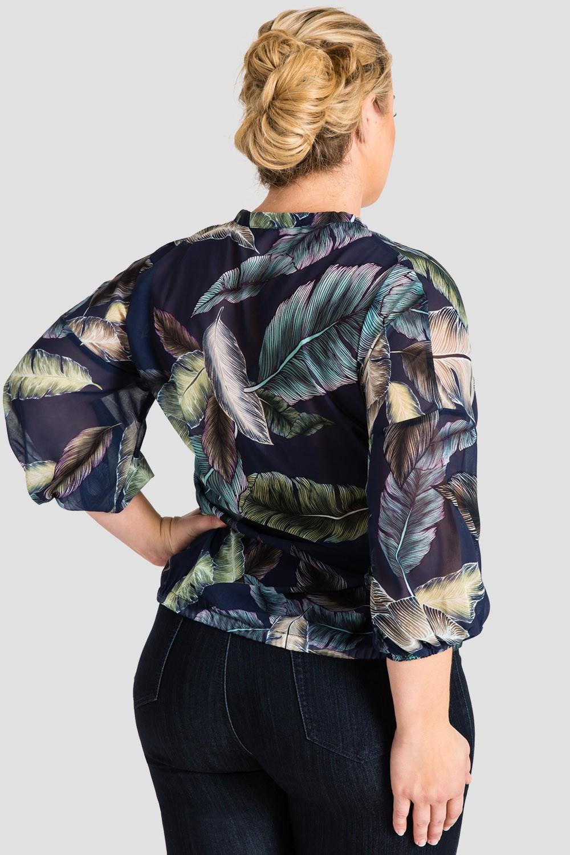 Plus Size Women's Tropical Leaf Print Chiffon Blouse