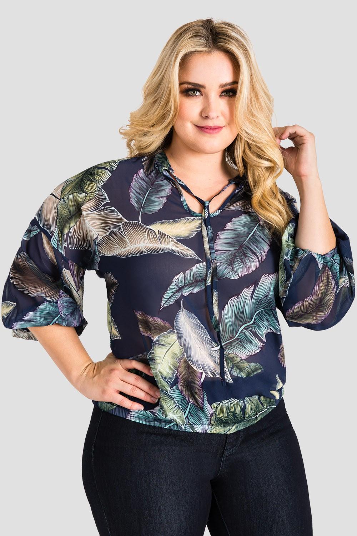 Plus Size Women's Chiffon Tropical Leaf Print Top