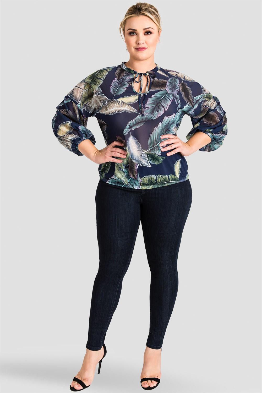 Plus Size Women's Trendy Tropical Leaf Print Chiffon Blouse