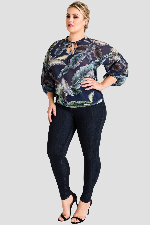 Plus Size Women's Trendy Tropical Leaf Print Chiffon Top