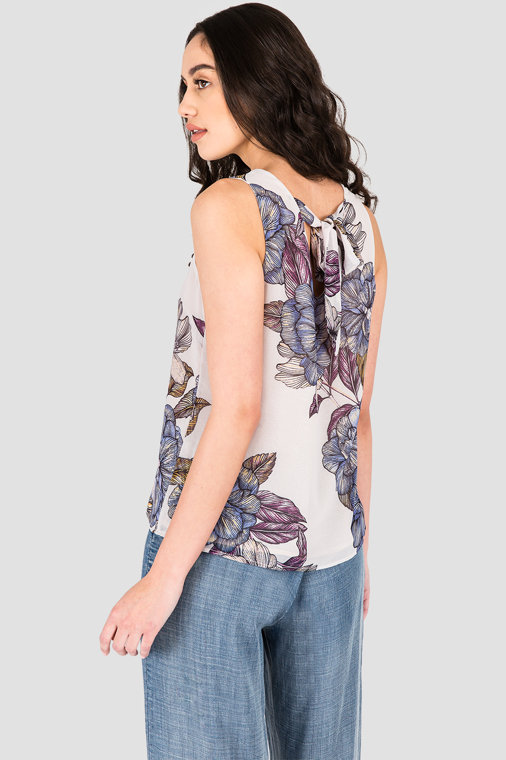 Standards & Practices Women's Gray Floral Print Chiffon Sleeveless Tie V-Back Top
