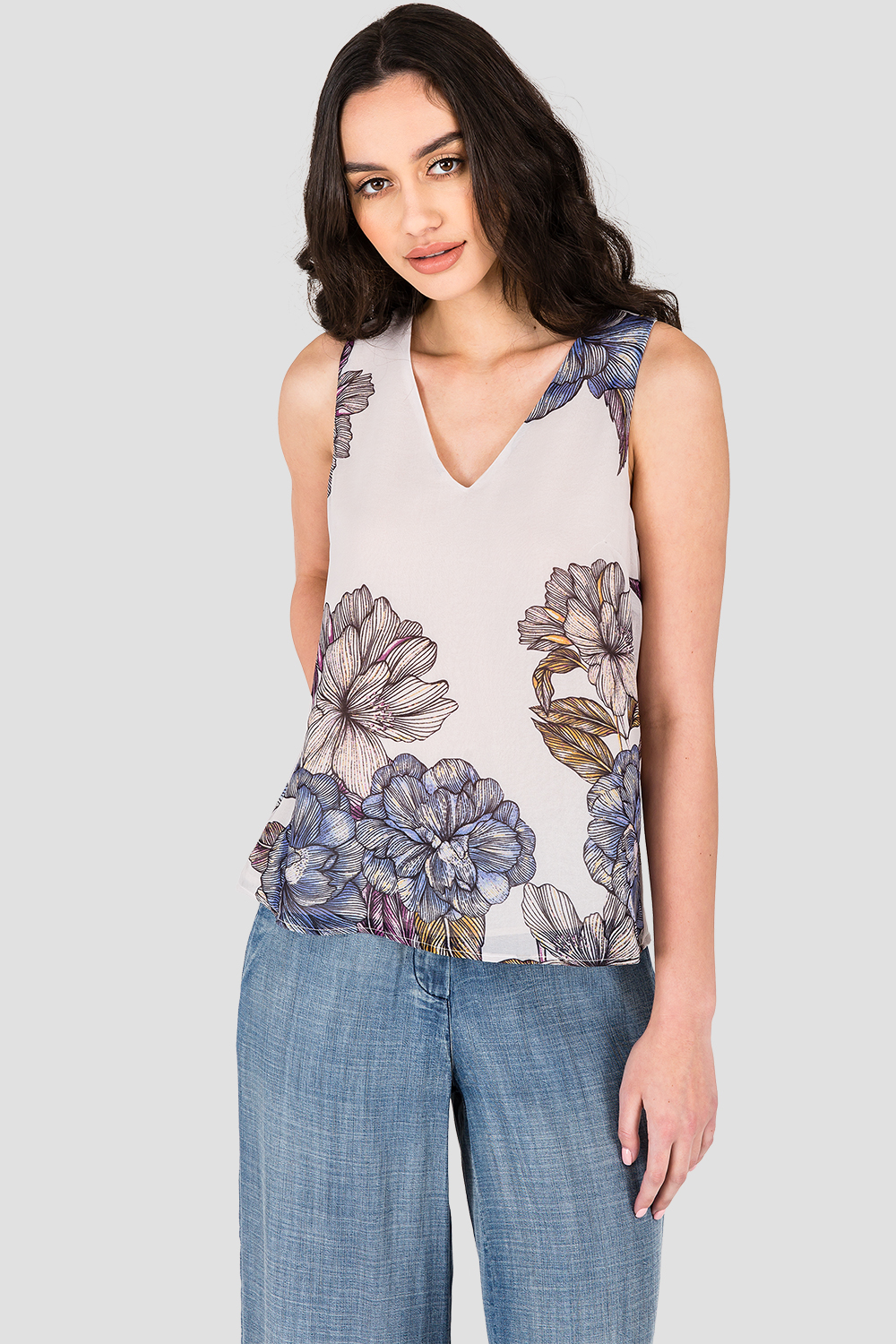 Standards & Practices Women's Gray Floral Print Chiffon Sleeveless Tie V-Back Top Back