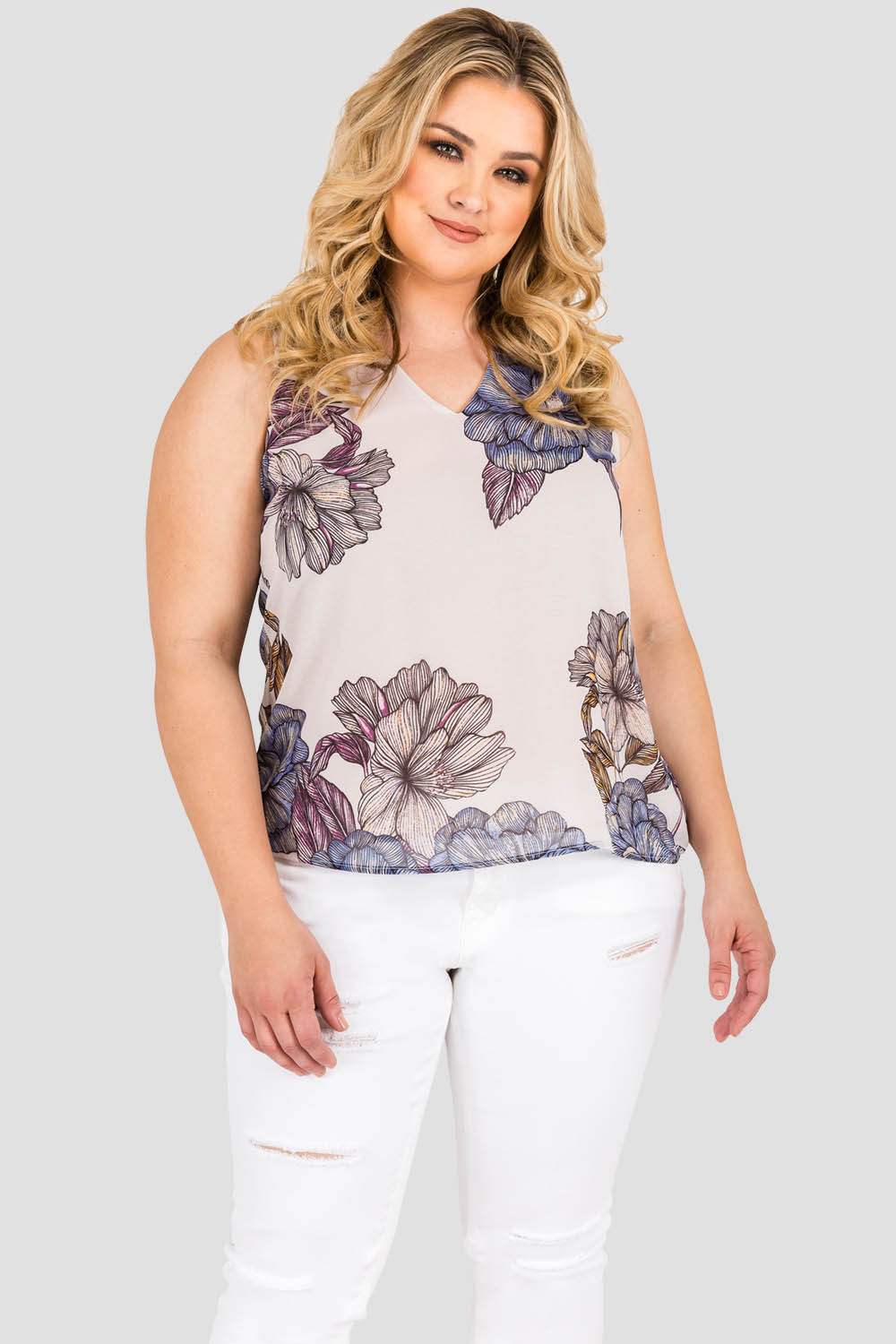 Standards & Practices Curvy Women's Plus Size Gray All Over Floral Print Chiffon Sleeveless Tie V-Back Top
