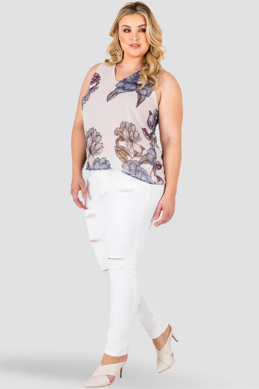 Curvy Women's Plus Size Light Gray Floral Print High Low Chiffon Sleeveless Tie V-Back Top