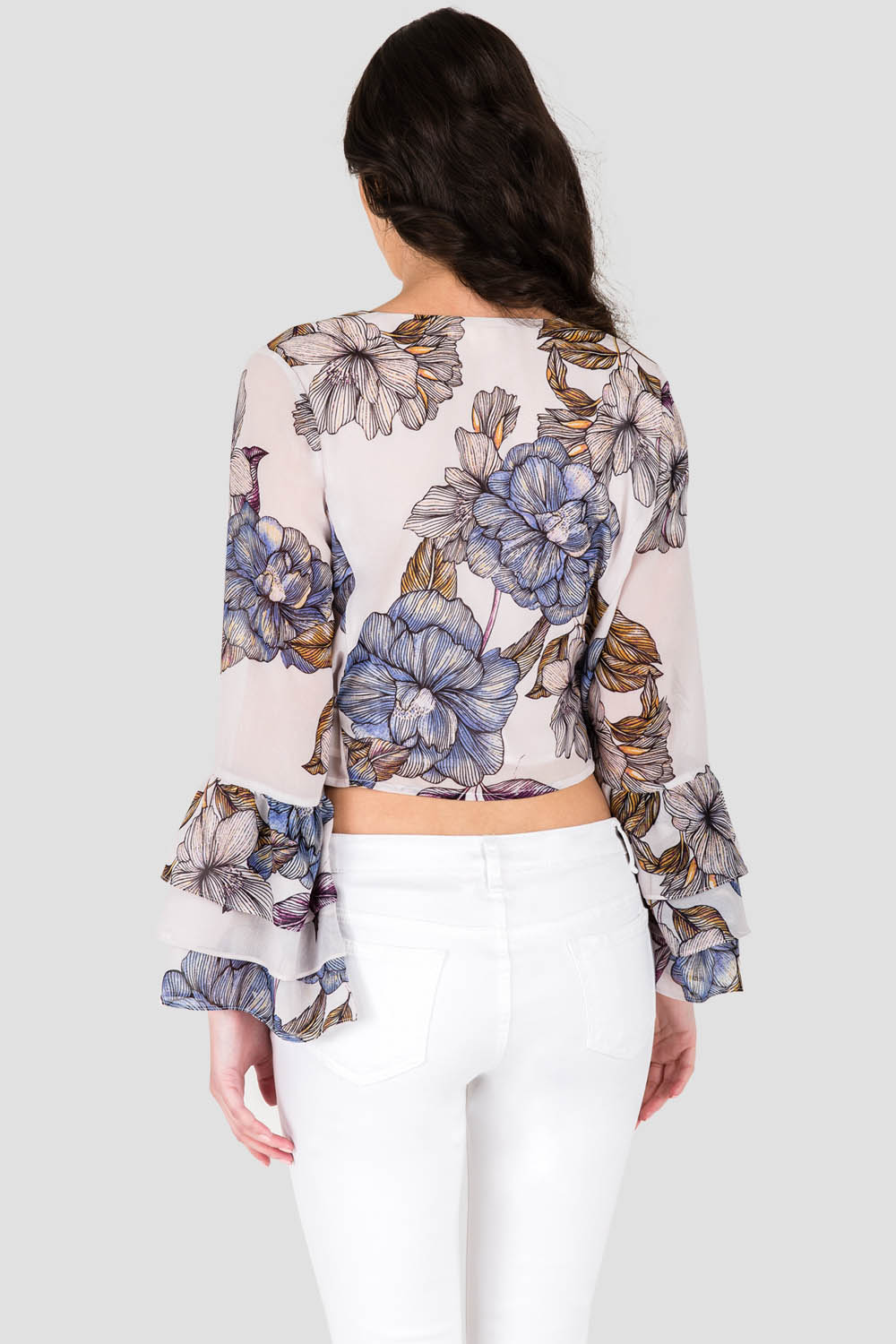 Standards & Practices Women's Gray Floral Print Chiffon Crossover Ruffle Sleeve Blouse
