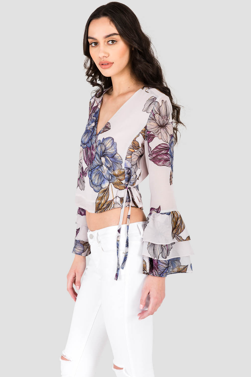Women's Gray Floral Print Chiffon Crossover Cropped Tiered Ruffle Sleeve Blouse