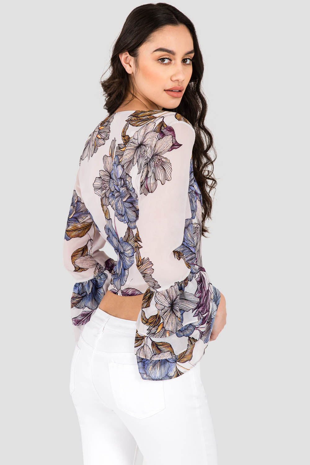 Women's Gray All Over Floral Print Chiffon Crossover Tiered Ruffle  Long Sleeve Blouse