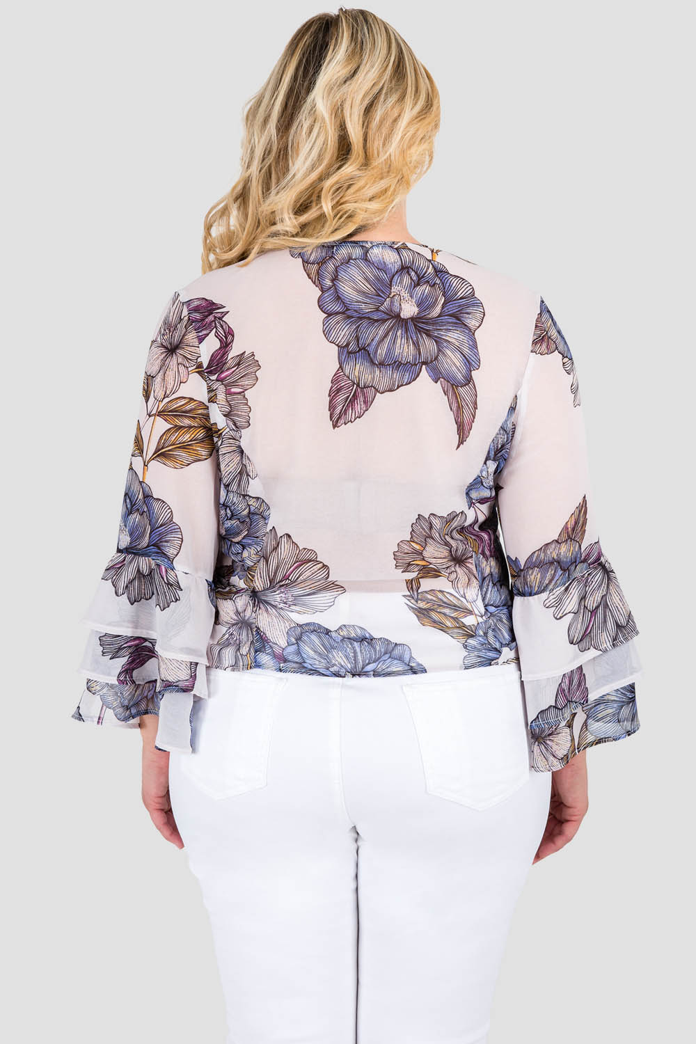 Curvy Women's Plus Size Gray All Over Floral Print Chiffon Wrapover Ruffle Tiered Long Sleeve Blouse