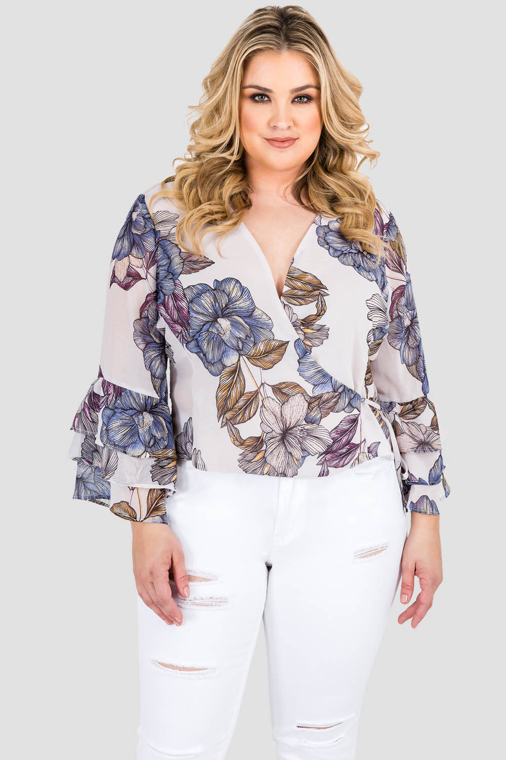 Standards & Practices Curvy Women's Plus Size Gray All Around Floral Print Chiffon Crossover Ruffle Sleeve Blouse