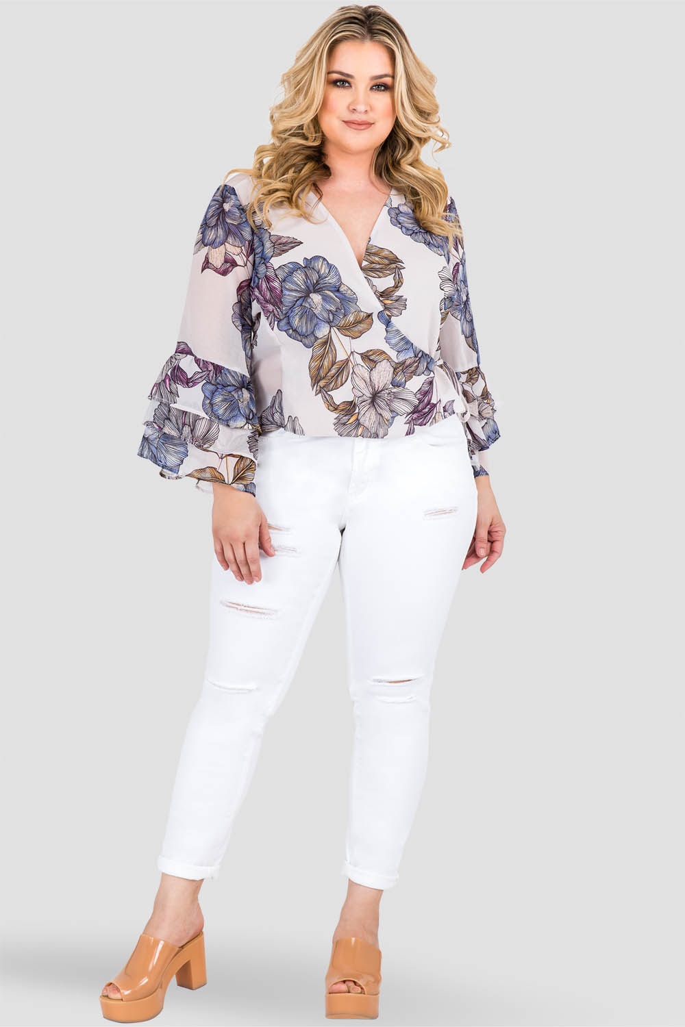 Curvy Women's Plus Size Gray Floral Print Chiffon Wrap Over Ruffle Two Tiered Sleeve Blouse Front