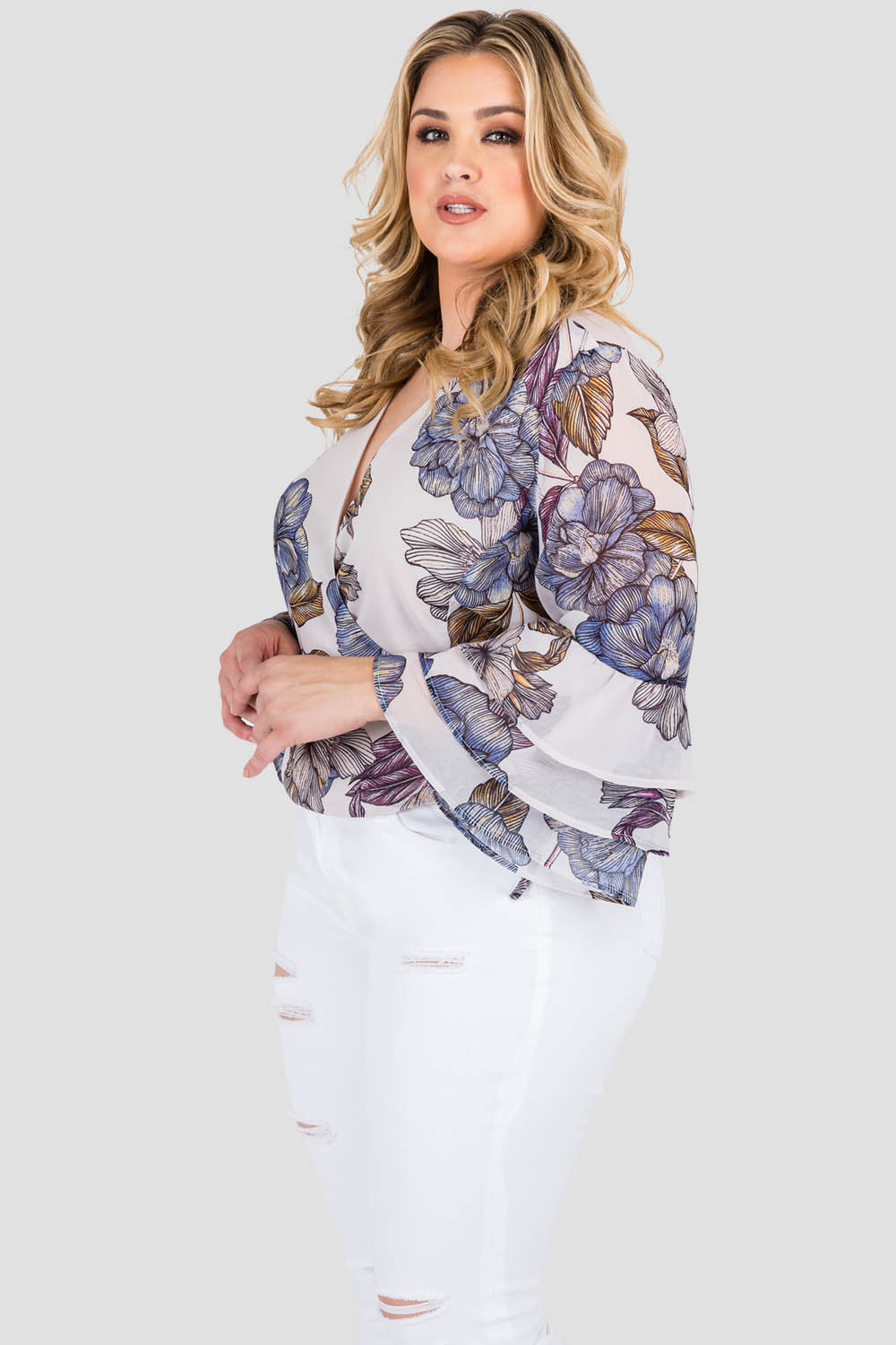 Standards & Practices Curvy Women's Plus Size Gray Floral Print Chiffon Crossover Ruffle Sleeve Blouse