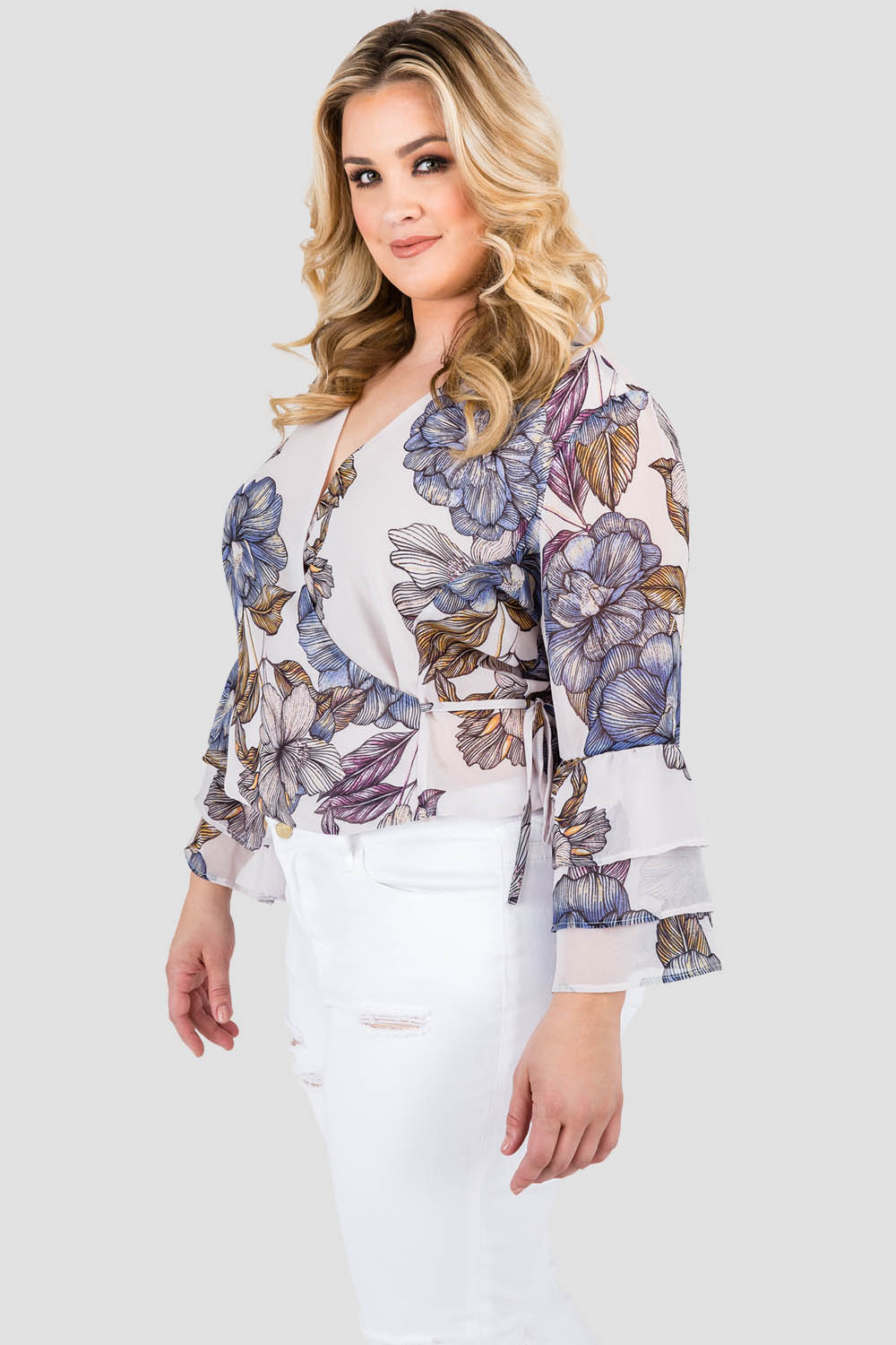 Curvy Women's Plus Size Gray Floral Print Chiffon Wrap Over Ruffle Two Tiered Sleeve Blouse
