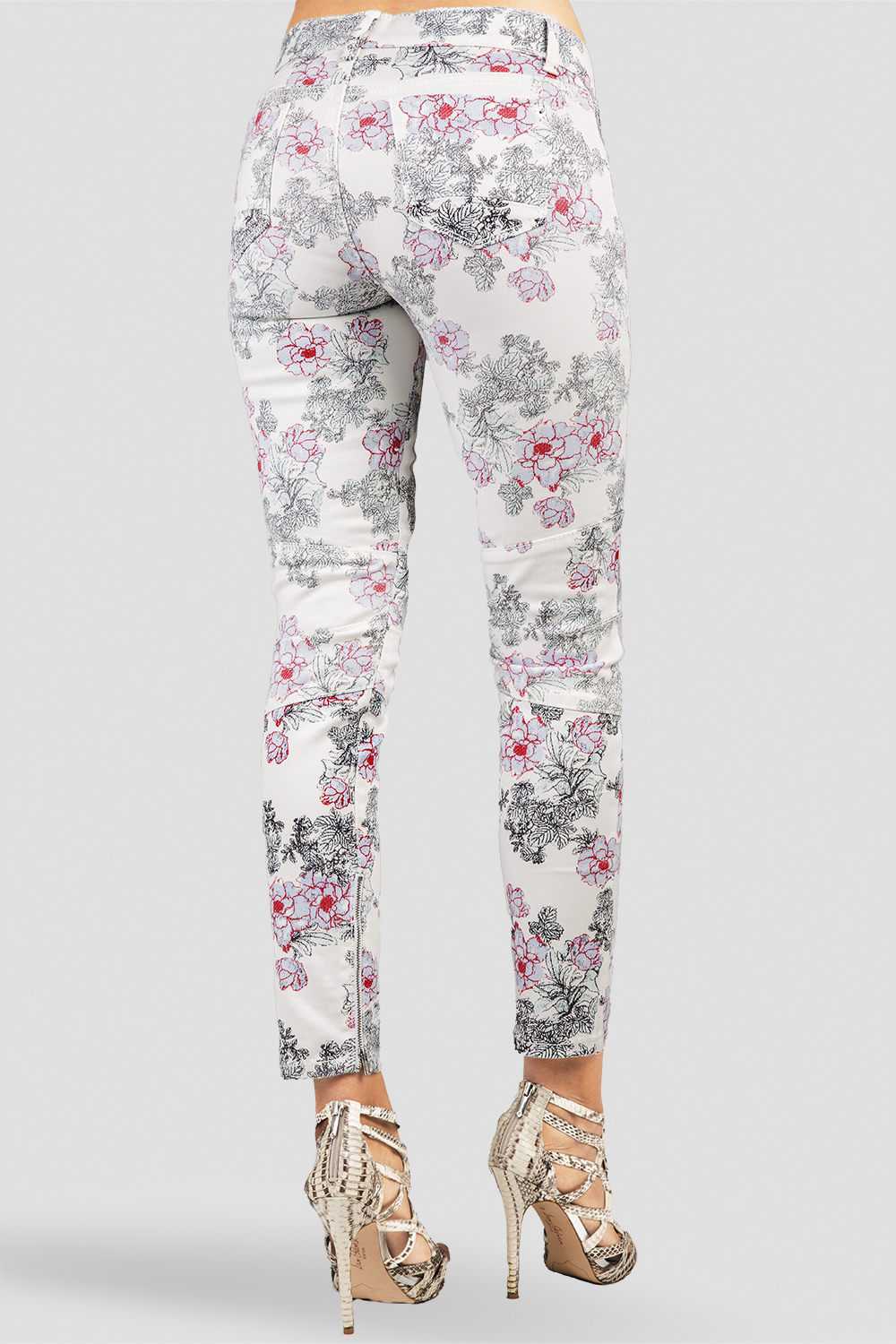 White Floral Print Ankle Jeans