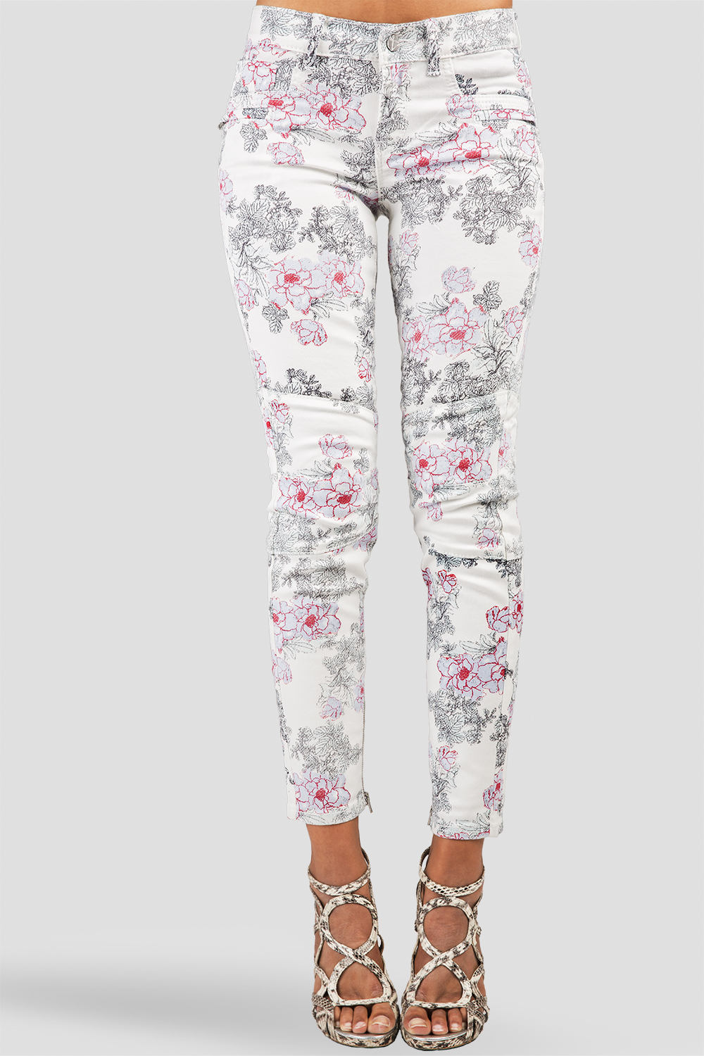 Women White Floral Print Ankle Jeans