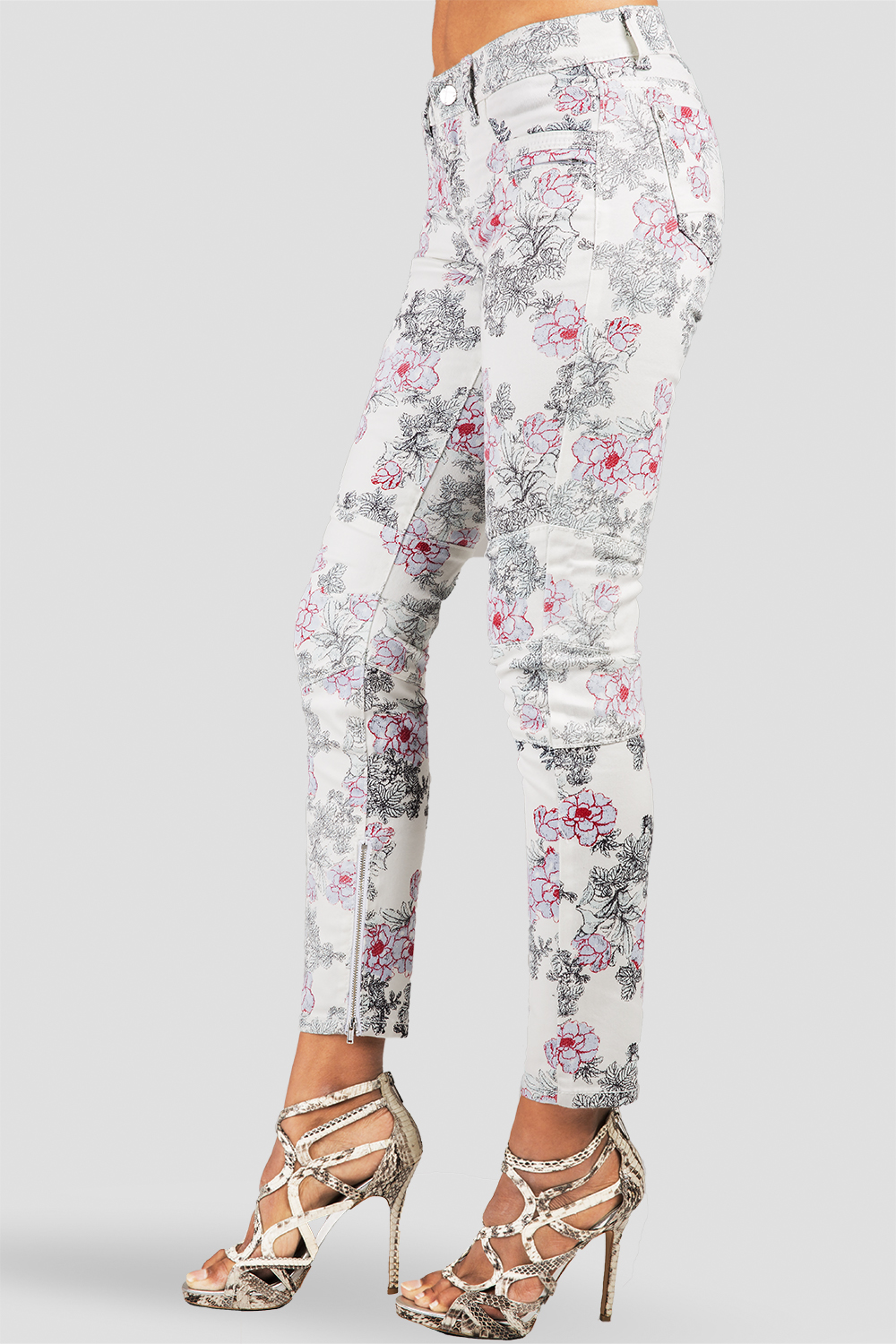 Women White Rose Printed Ankle Jeans