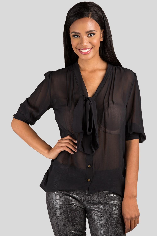 Women Black Neck Tie Sheer Blouse