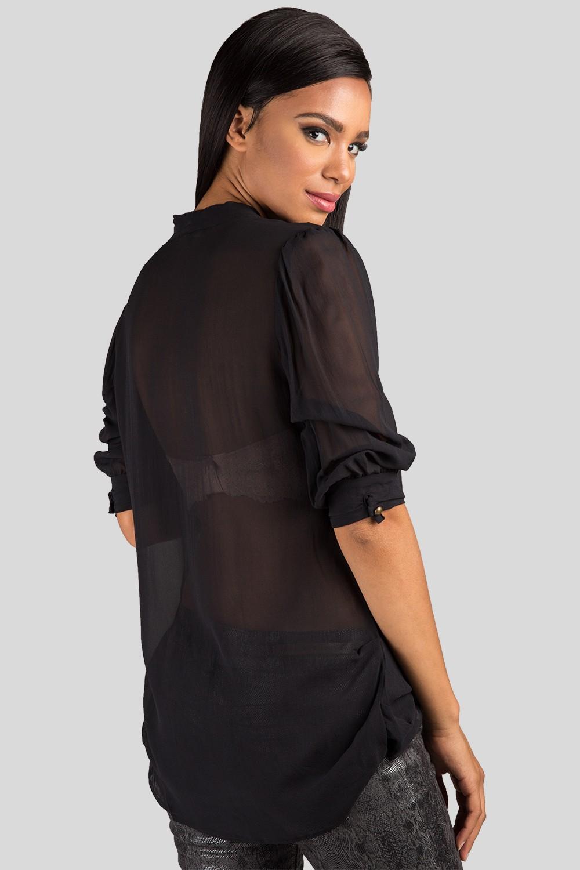 Women Black Neck Tie Sheer