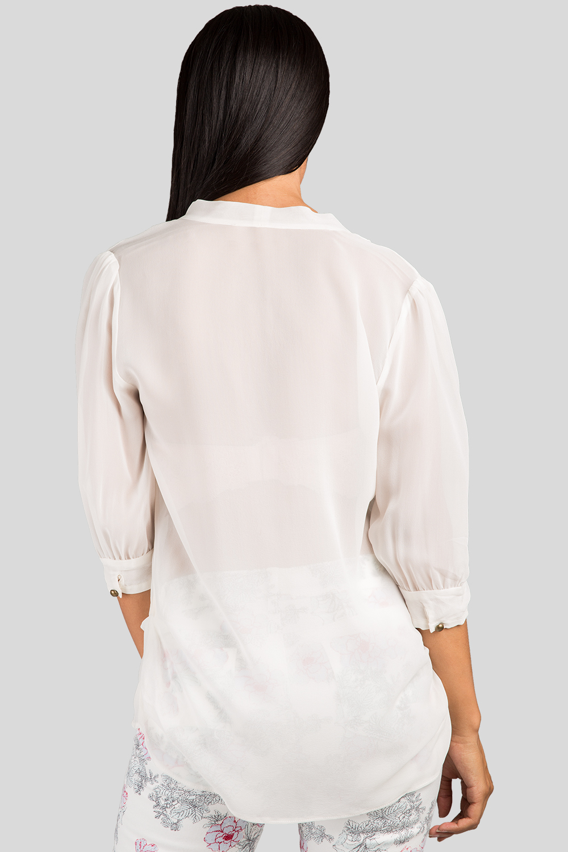 Women Ivory Neck Tie Silk Blouse