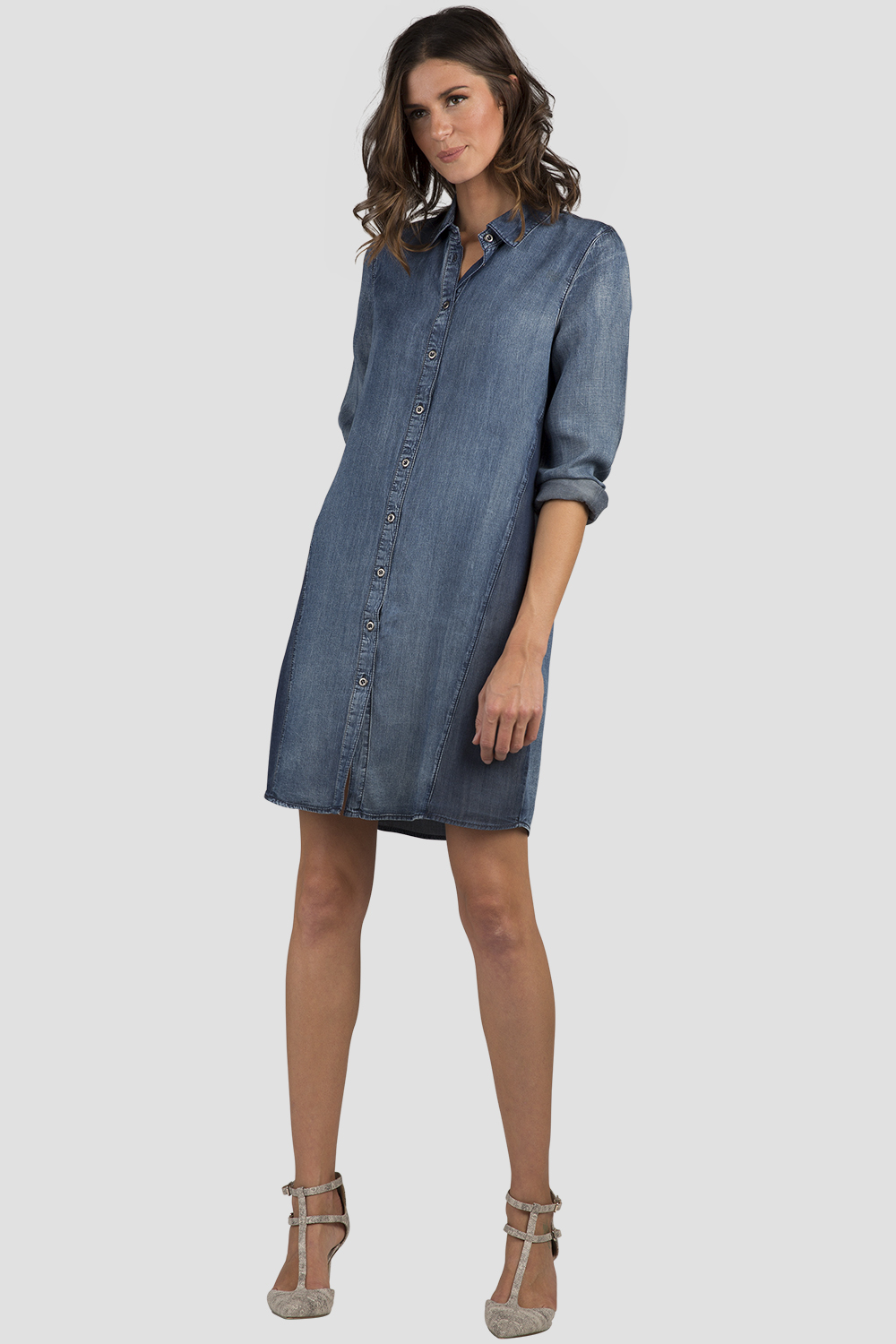 Women Chambray Long Sleeve Shirt Dress