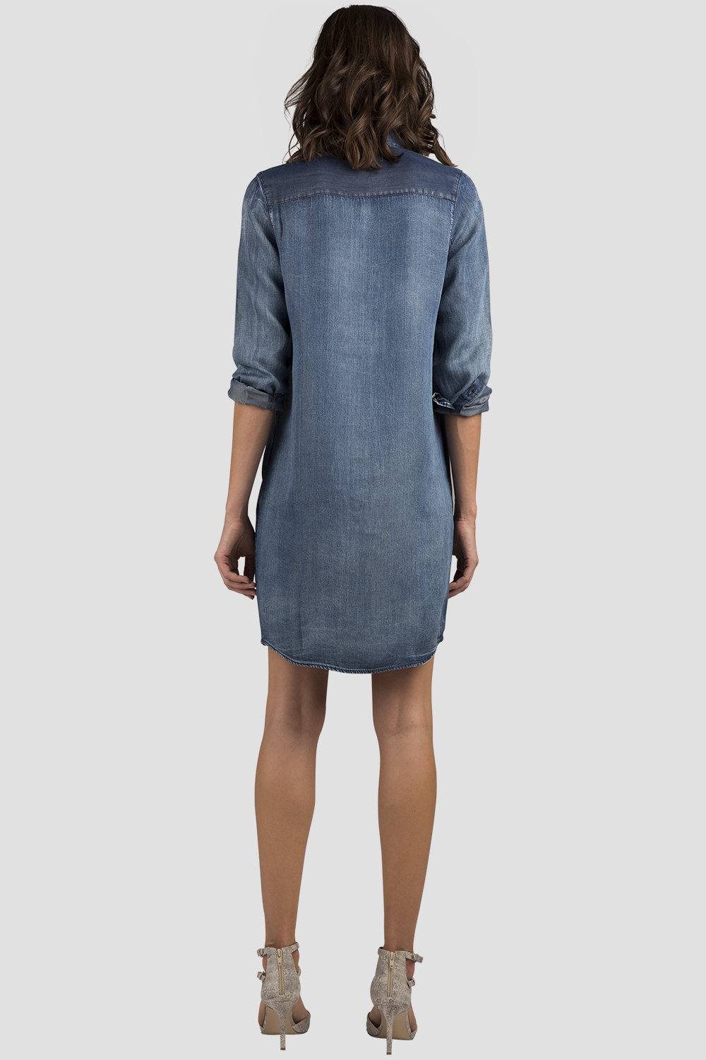 Women Chambray Long Sleeve Dress