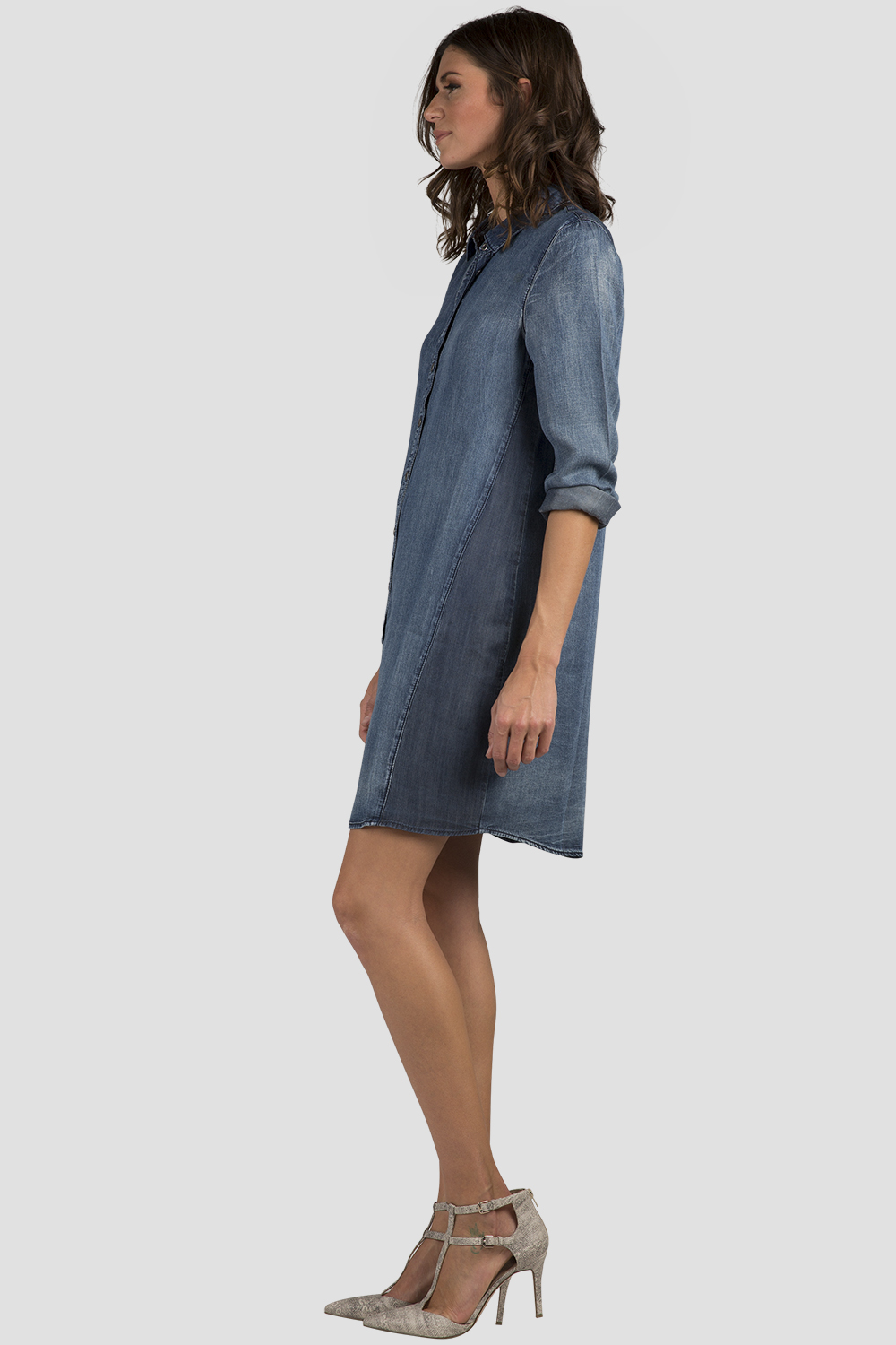 Women's Chambray Long Sleeve Shirt Dress
