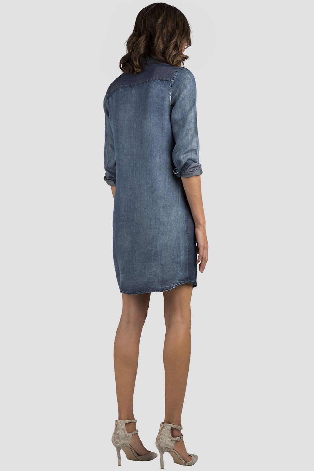 Women Chambray Denim Shirt Dress