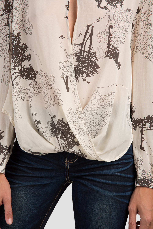 Key Hole Silk Drape Blouse