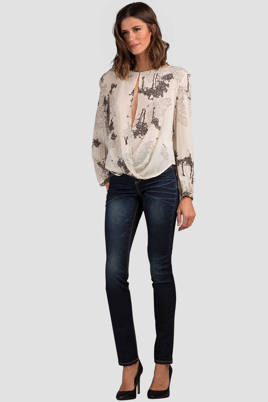 Women Floral Print Drape Silk Blouse