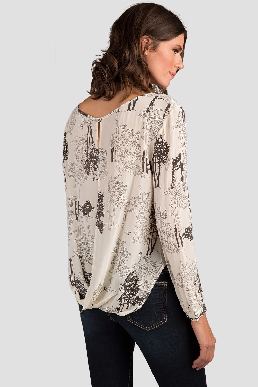 Floral Print Drape Silk Blouse