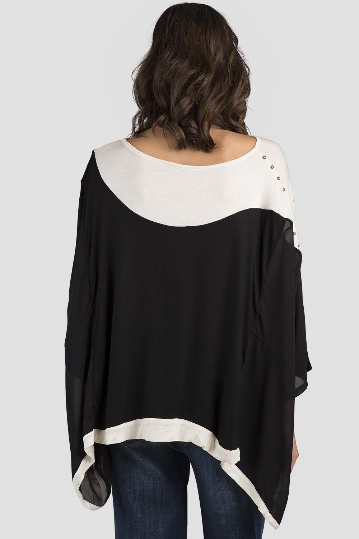 Women Black Long Sleeve Silk Top