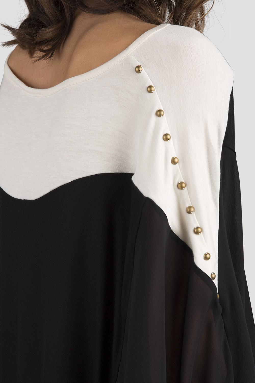 Women Black Long Sleeve Silk Blouse