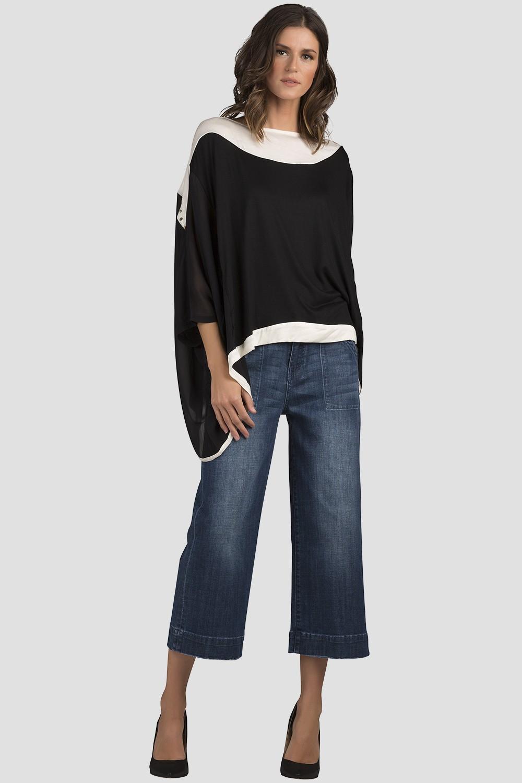 Women Black Long Sleeve Chiiffon Blouse