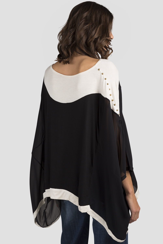 Women Black Long Sleeve Sheer Blouse