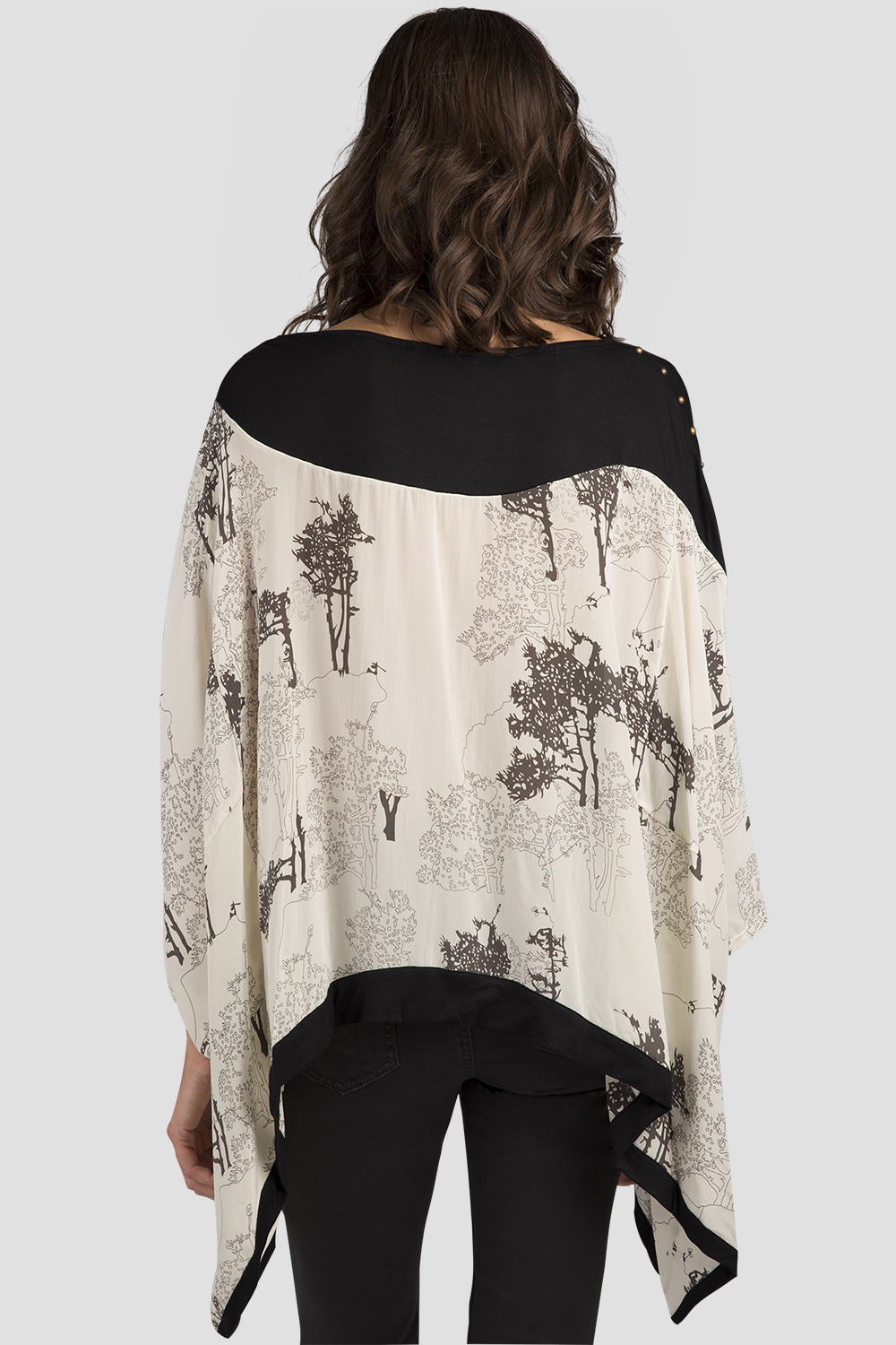 Women White Tree Printed Chiffon Blouse