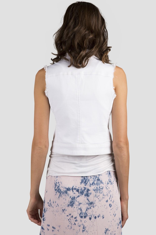 Women White Denim Sleeveless Vest