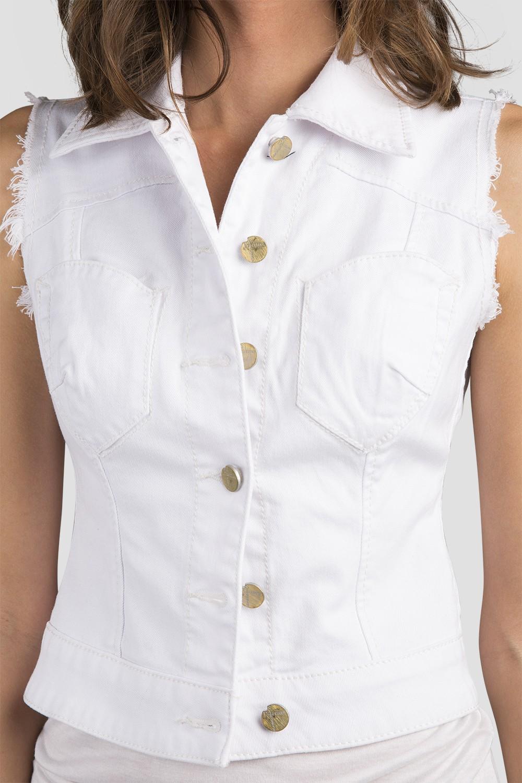 259a4fcf4ceb17 Standards   Practices - Women s White Denim Sleeveless Vest
