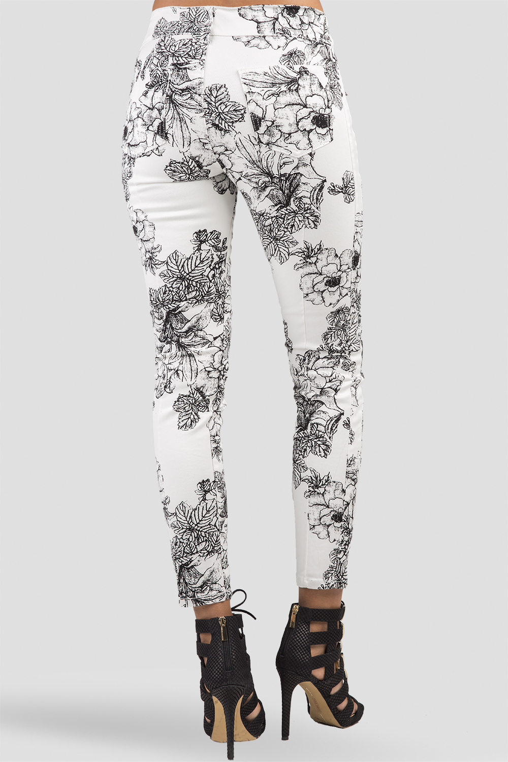 Women White Denim Black Rose Jeans