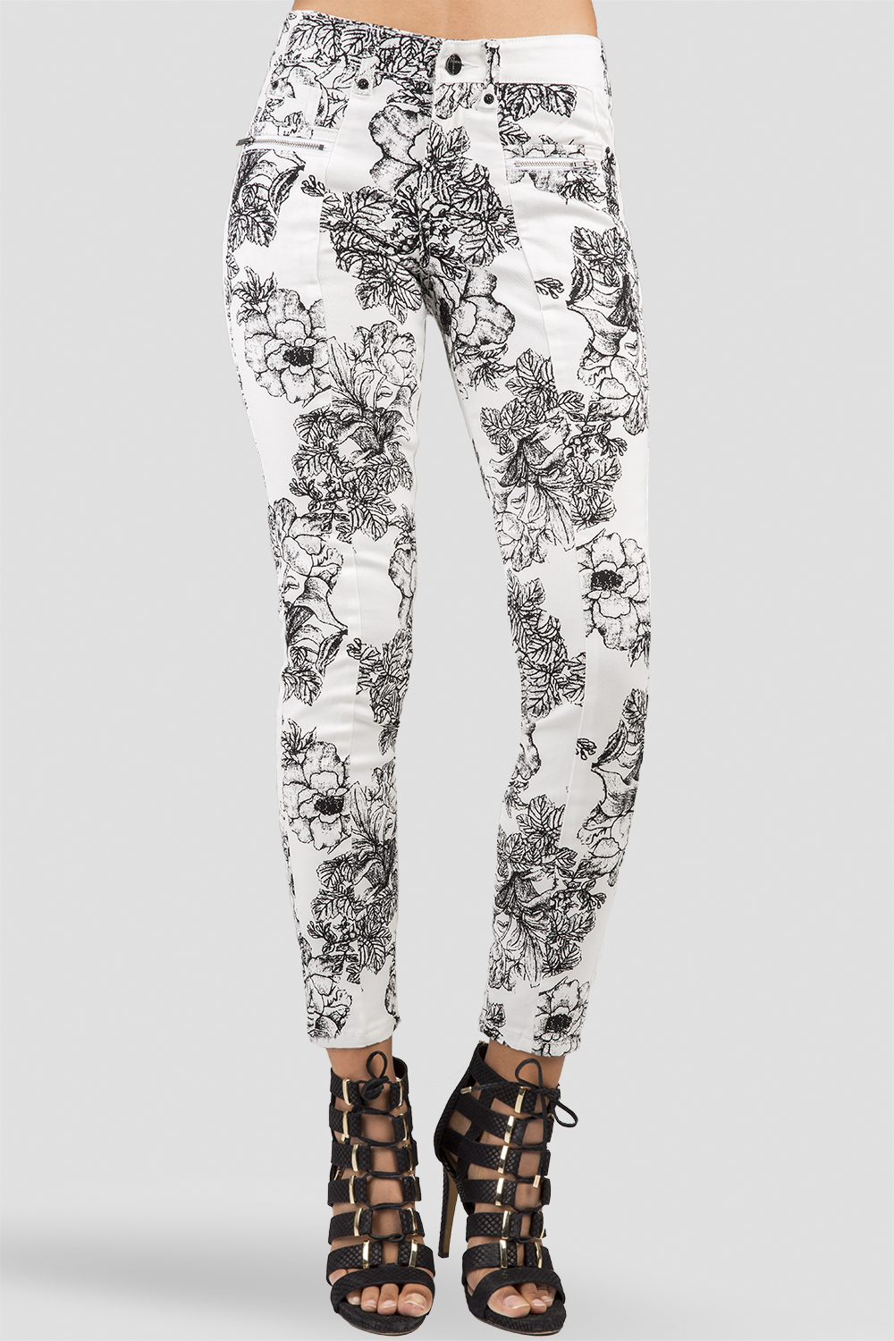 Women White Denim Floral Skinny Jeans
